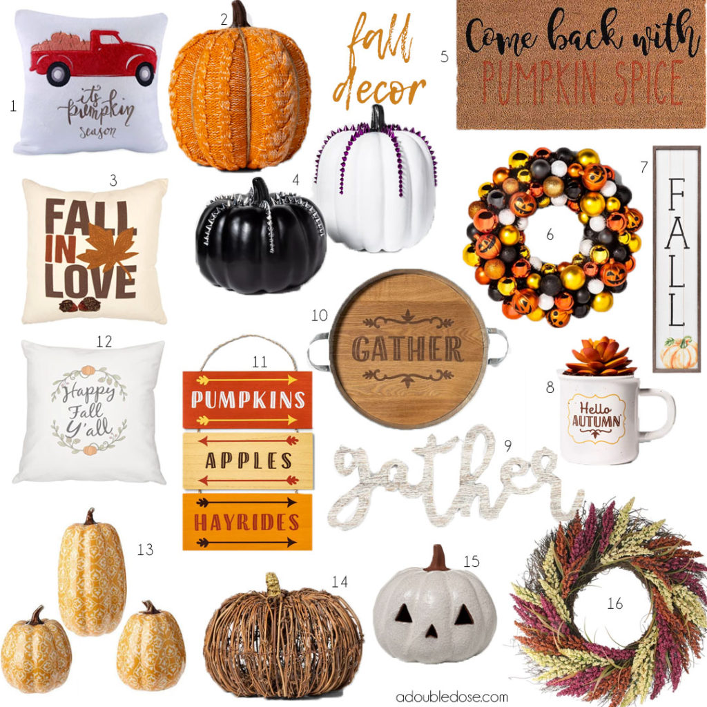 lifestlyle and fashion bloggers alexis and samantha belbel share their fall decor ideas from target and other retailers like pumpkins, fall pillows, fall doormats, and fall wreaths