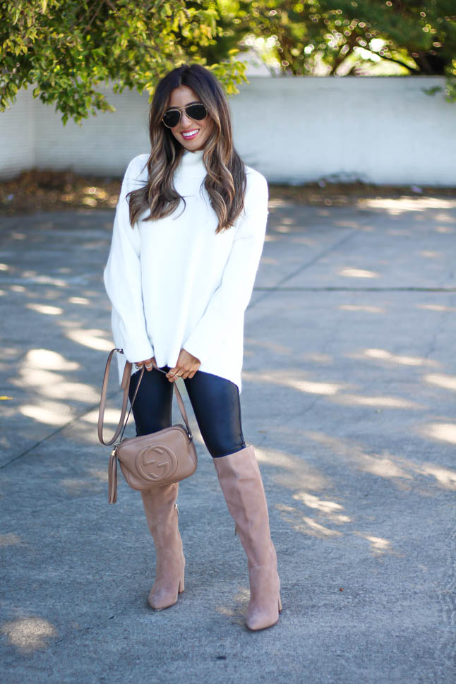 lifestyle and fashion blogger, samantha belbel wearing free people tunic sweater, spanx faux leather leggings, gucci soho disco bag, suede sam edelman boots all from Nordstrom