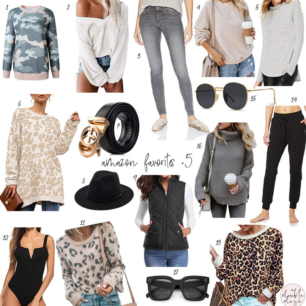 lifestlye and fashion blogger alexis and samantha belbel share their favorite amazon finds on prime: camo sweatshirt, leopard tunic, quilted vest, black joggers, celine dupe sunnies, gucci dupe belt, grey jeans | adoubledose.com