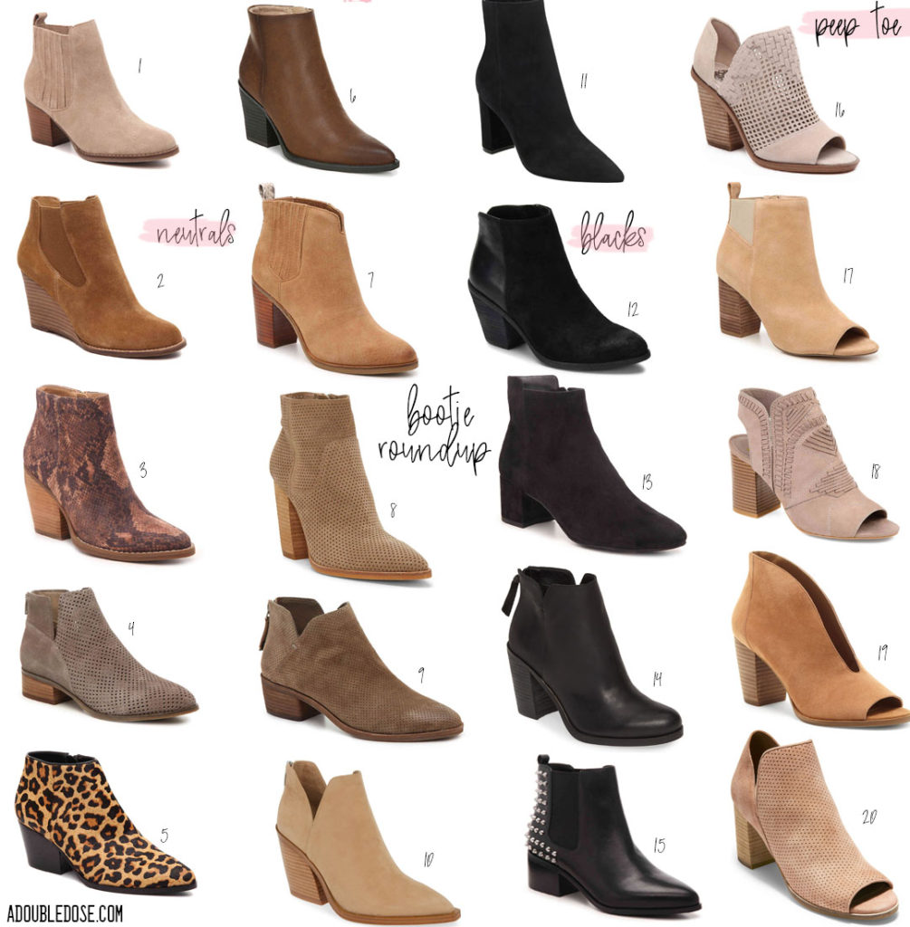 lifestyle and fashion bloggers alexis and samantha belbel of a double dose share their roundup of neutral booties, black booties, and peep toe booties that are affordable and fashionable from DSW and Nordstrom for Fall 2019