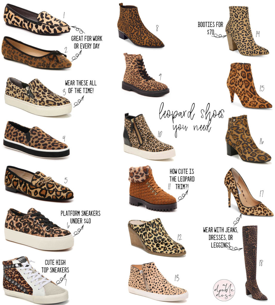 lifestyle and fashion bloggers alexis and samantha belbel share their favorite leopard shoes: sneakers, booties, boots, heels, and more from dsw and nordstrom for fall and winter 2019