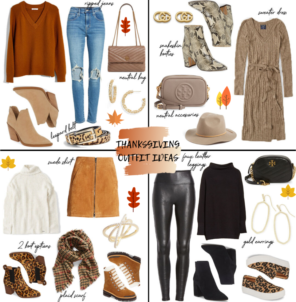 lifestyle and fashion blogger alexis belbel sharing four thanksgiving outfit ideas for fall 2019 whether you are dressing up in a sweater dress with boots or a suede skirt, or more casual in spanx faux leather leggings or ripped levis jeans | adoubledose.com