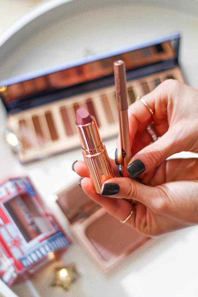 a double dose blog sharing holiday gifts for beauty lovers from Norstrom: dyson hair dryer, silk pillowcase and eye mask, fresh lip balm, Charlotte Tilbury eyeshadow palette and highlighter, charlotte tilbury pillowalk lipstick   adoubledose.com