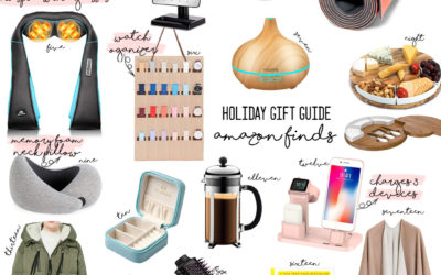 a double dose blog sharing holiday gifts from amazon prime: neck massager, yeti cup, diffuser, wine glasses, cheese board, yoga mat, french press coffee maker