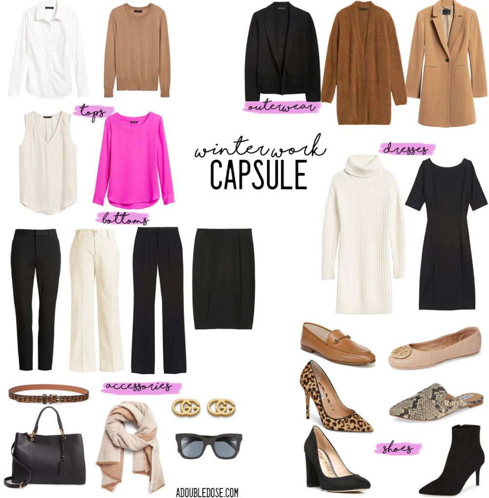 winter capsule for work 2019: a double dose sharing their workwear capsule favorites for winter: sweaters, blouses, dress pants, cardigan, blazer, work dress, heels and flats | adoubledose.com