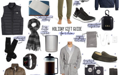 a double dose blog sharing holiday gifts for him: patagonia jacket, north face vest, ugg slippers, ugg robe, ugg joggers, yeti cup, french press, theragun, cashmere scarf, airpod case, noise cancelling headphones | adoubledose.com