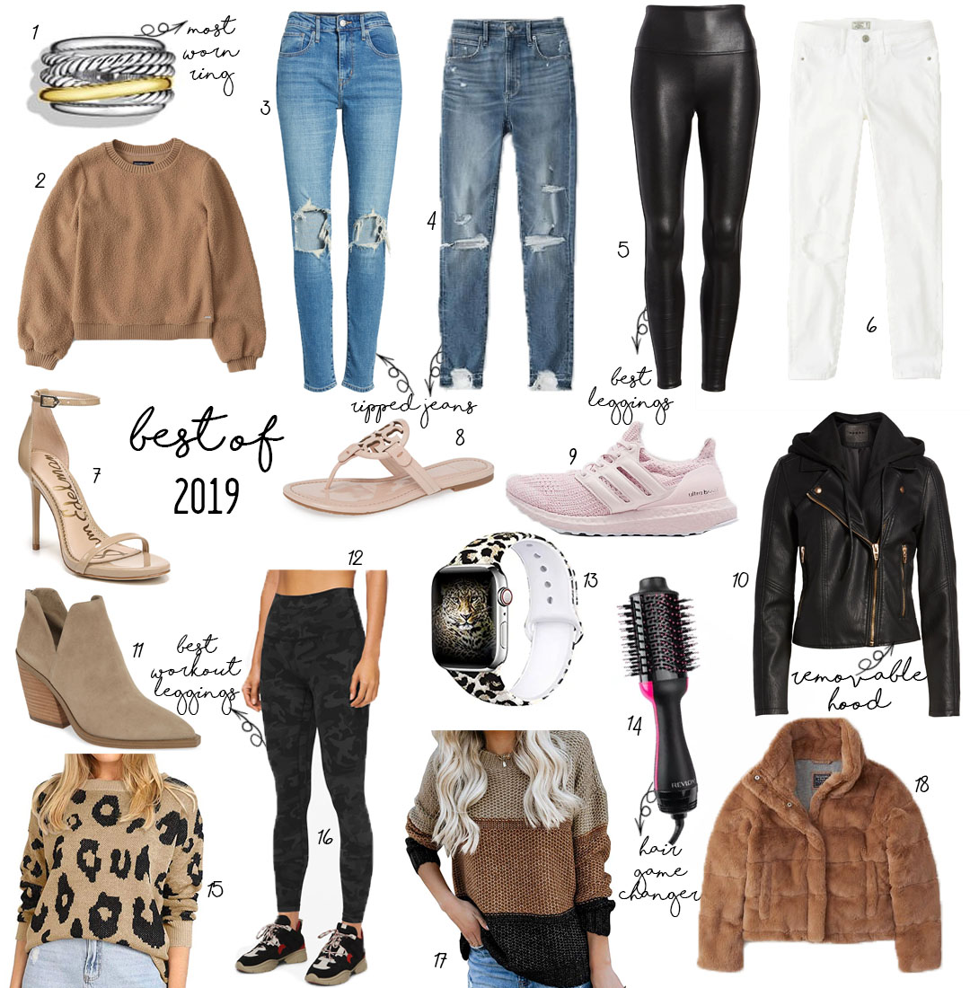 lifestyle and fashion blogger alexis and samantha belbel sharing our favorite pieces from 2019: david yurman cable ring, ripped jeans from abercrombie,faux leather jacket from blanknyc nordstrom, vince camuto booties, leopard sweater from amazon, spanx faux leather leggings, tory burch miller sandal   adoubledose.com
