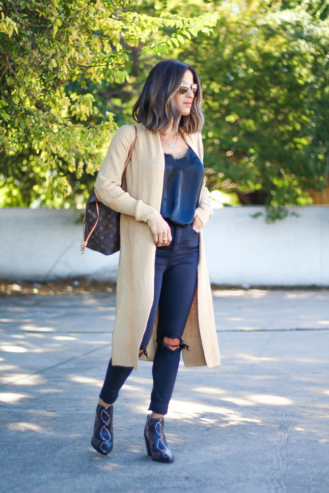 lifestyle and fashion blogger alexis belbel wearing neutral cardigan, black lace cami, ripped black jeans and snakeskin vince camuto booties all from Nordstrom | adoubledose.com