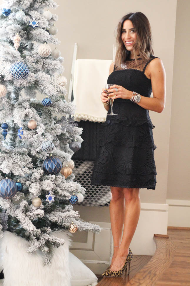 lifestyle and fashion blogger alexis belbel wearing black lace Lilly Pulitzer dress for the holidays with Resort Ready Glamour Promos hair accessories | adoubledose.com