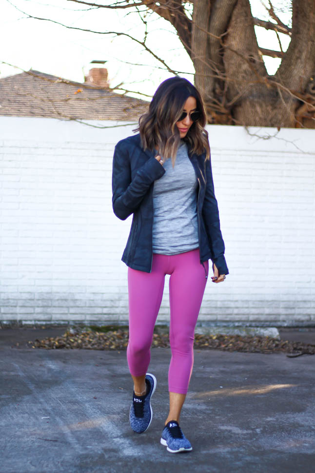 lifestyle and fashion blogger alexis belbel wearing lululemon rose align crops with long sleeve swift crew top in grey and apl sneakers and camo grey lululemon define jacket   | adoubledose.com