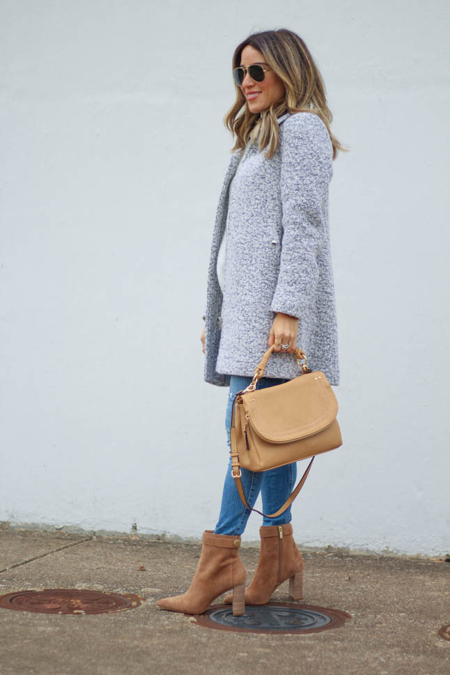 lifestyle and fashion blogger alexis belbel wearing tan suede pointed boots and neutral/camel color satchel crossbody bag from Sole Society with a grey coat, grey sweater from nordstrom topshop, hollister skinny jeans  | adoubledose.com