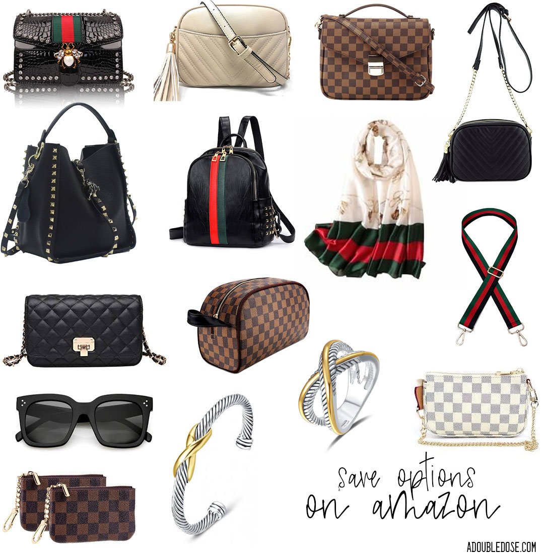 lifestyle and fashion blogger alexis and samantha belbel sharing some dupe bags and accessories on amazon, dupe gucci, dupe ysl, dupe david yurman | adoubledose.com