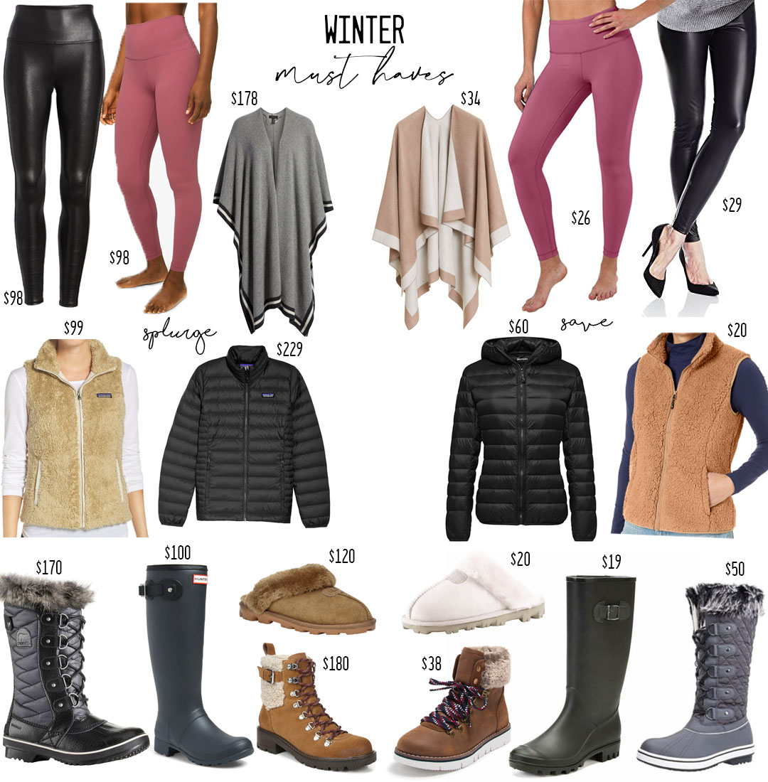 lifestyle and fashion blogger alexis and samantha belbel sharing some look for less splurge vs save options for winter wear must haves like sorel boots, patagonia jacket, patagonia vest, lululemon align leggings, spanx faux leather leggings | adoubledose.com