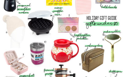 a double dose blog sharing holiday gifts under $15: popcorn maker, smoothie blender, bath bombs, jewelry organizer, french press, diffuser, makeup bag | adoubledose.com