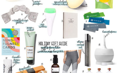 a double dose blog sharing holiday gifts for the wellness lover: simulating alarm clock, wine purifier, purple seat cushion, humidifier, dry brush kit, foam roller, ice roller  adoubledose.com