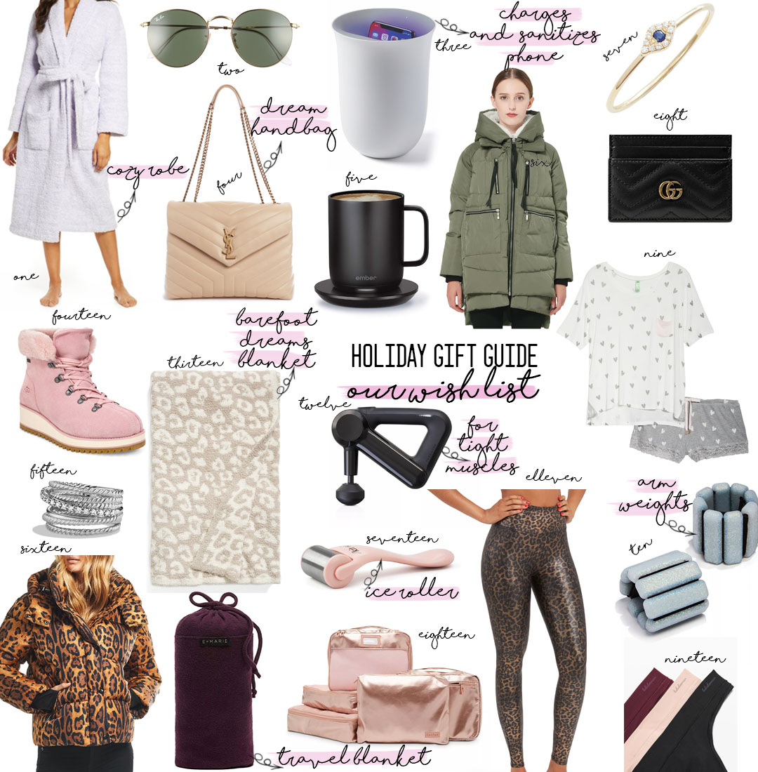 a double dose blog sharing holiday gifts on our wish list: cozy robe, YSL bag, amazon coat, gucci card holder, barefoot dreams blanket, theragun, travel blanket, ice roller, packing cubes, spanx leopard leggings