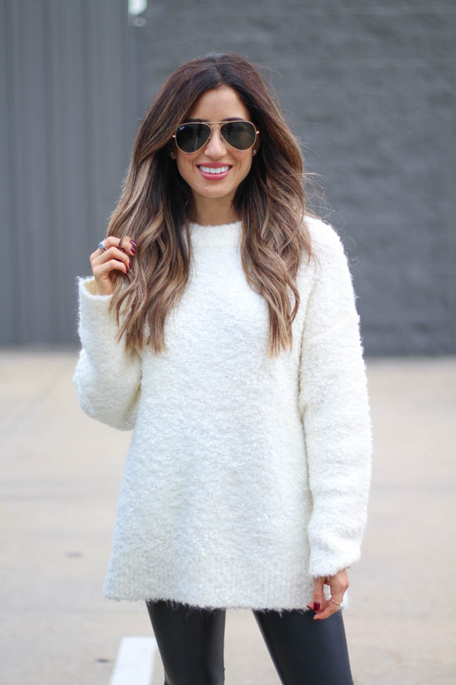 lifestyle and fashion blogger alexis belbel wearing a fuzzy ivory sweater with spanx faux leather leggings and black suede boots all from Nordstrom | adoubledose.com