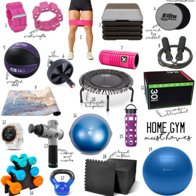 lifestyle and fashion blogger alexis belbel sharing home gym must haves like dumbbells, resistance bands, jump rope, sliders, ab roller, yoga mat, and more | adoubledose.com