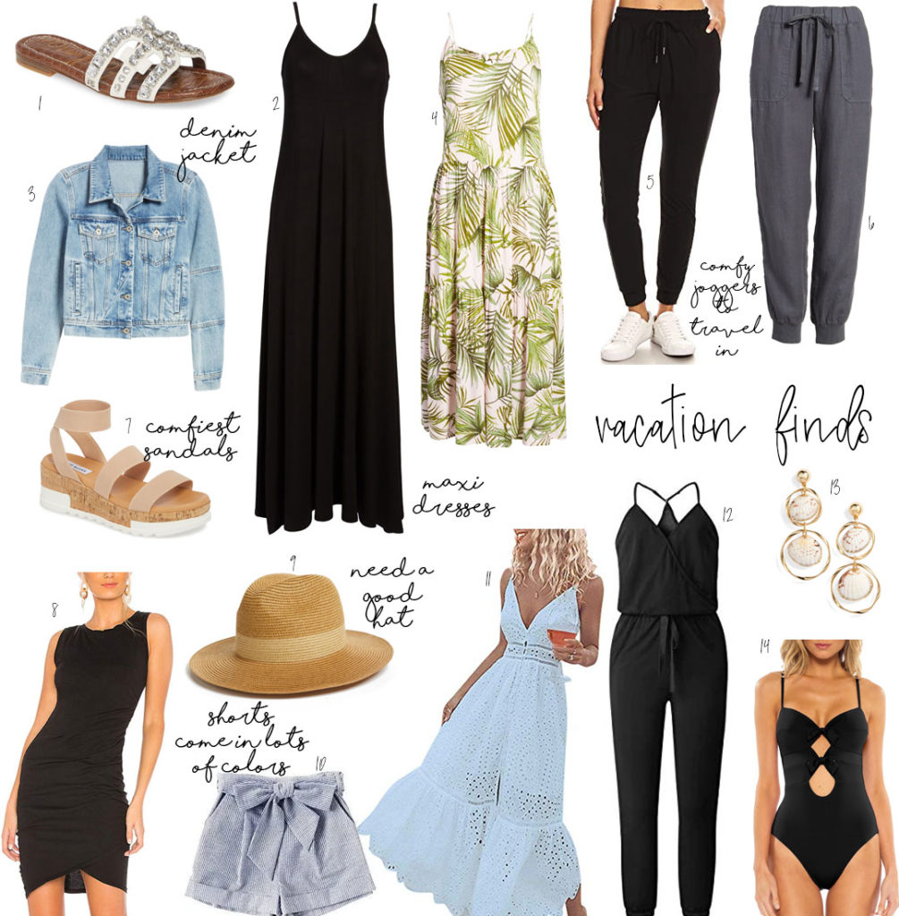 lifestyle and fashion blogger alexis belbel sharing vacation and resort wear for warm weather trips from amazon fashion and nordstrom- joggers, maxi dresses, denim jacket, hats| adoubledose.com