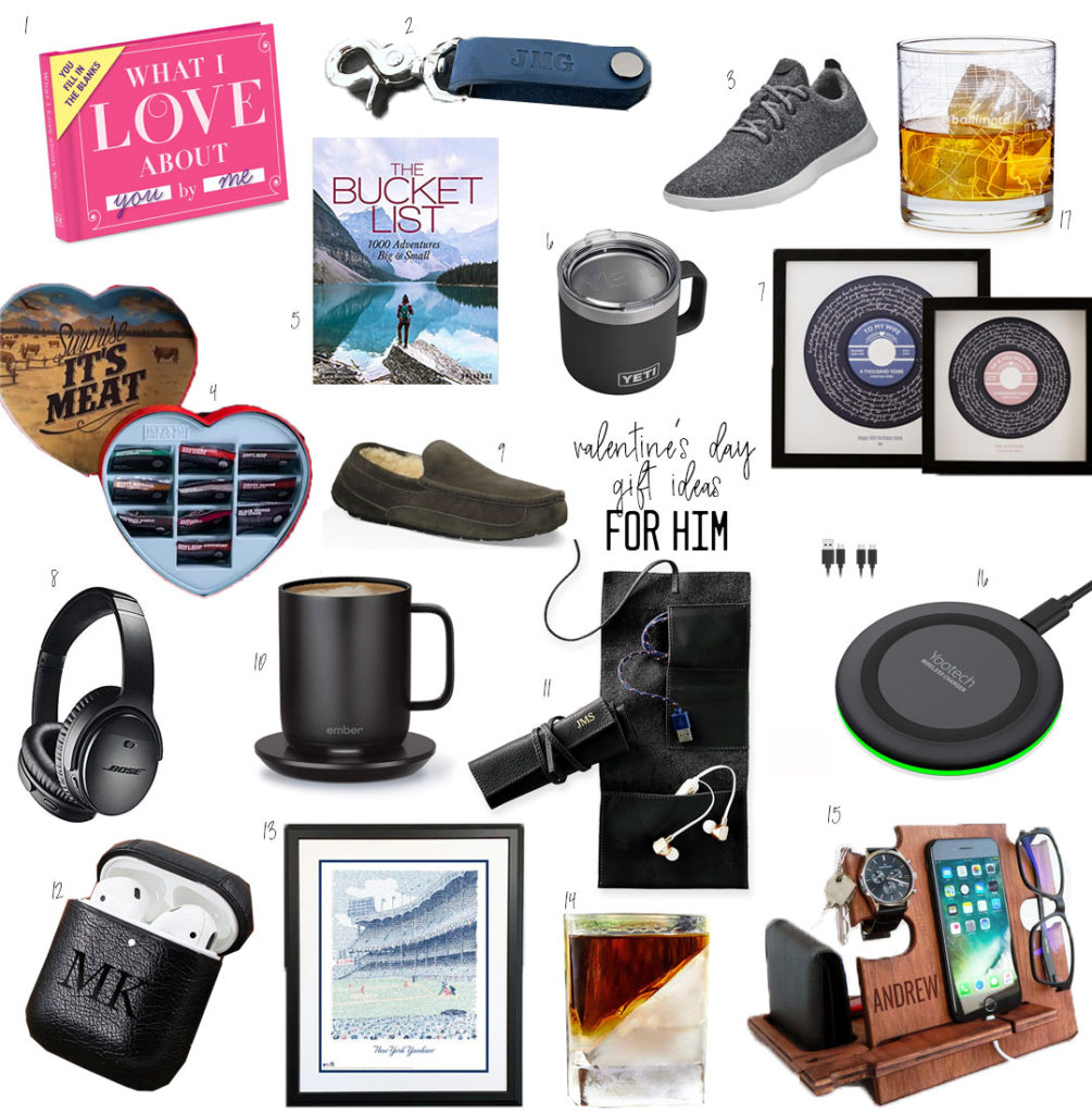 lifestyle and fashion blogger alexis belbel sharing her running valentines day gift ideas for him: jerky, airpod case, wireless charger, yeti cup, ugg slippers | adoubledose.com