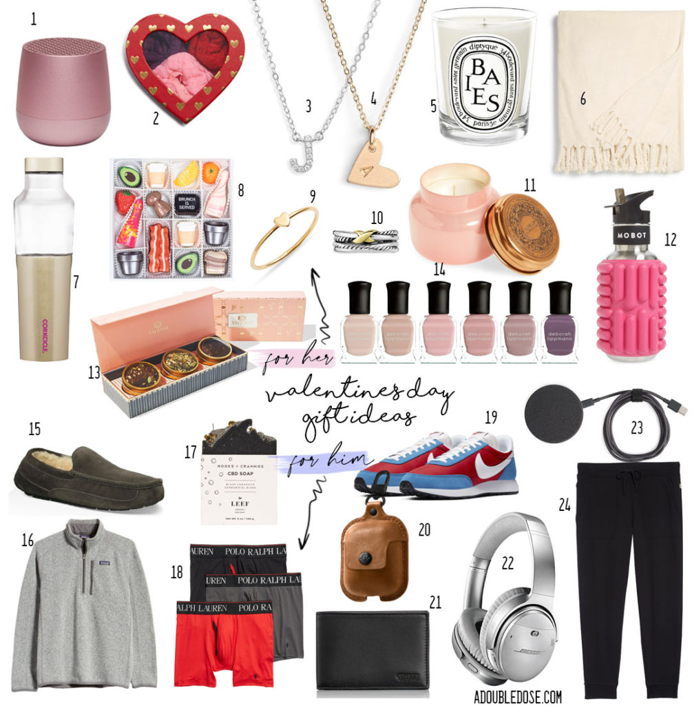 lifestyle and fashion blogger alexis belbel sharing her running valentines day gift ideas for him and her: tumi wallet, necklaces, rings,  airpod case, ugg joggers, candle ,wireless charger, yeti cup, ugg slippers | adoubledose.com
