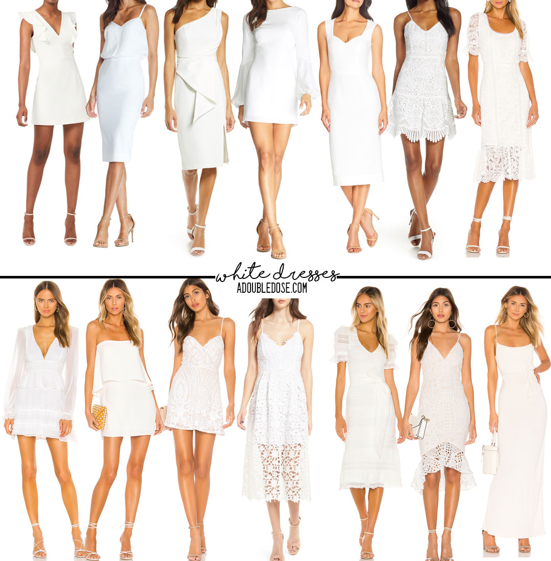 lifestyle and fashion blogger alexis belbel shares her roundup of white dresses for brides and occasions for spring from nordstrom and revolve | adoubledose.com