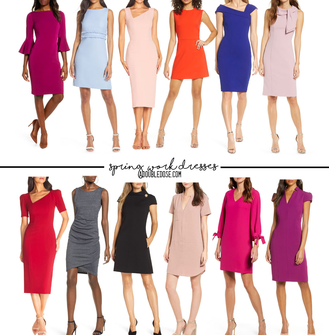 lifestyle and fashion blogger alexis belbel shares her roundup of sheath work dresses in all different colors for spring from nordstrom | adoubledose.com