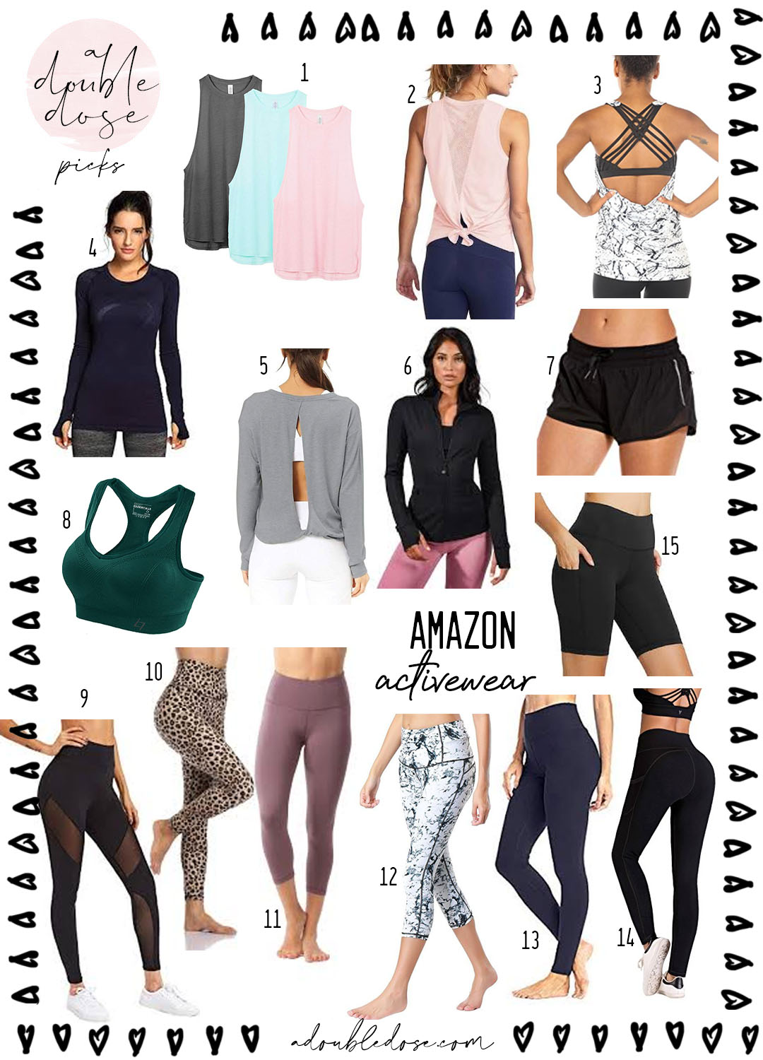 lifestyle and fashion blogger alexis belbel sharing amazon activewear for workouts and athleisure : tanks, leggings, shorts, bras | adoubledose.com