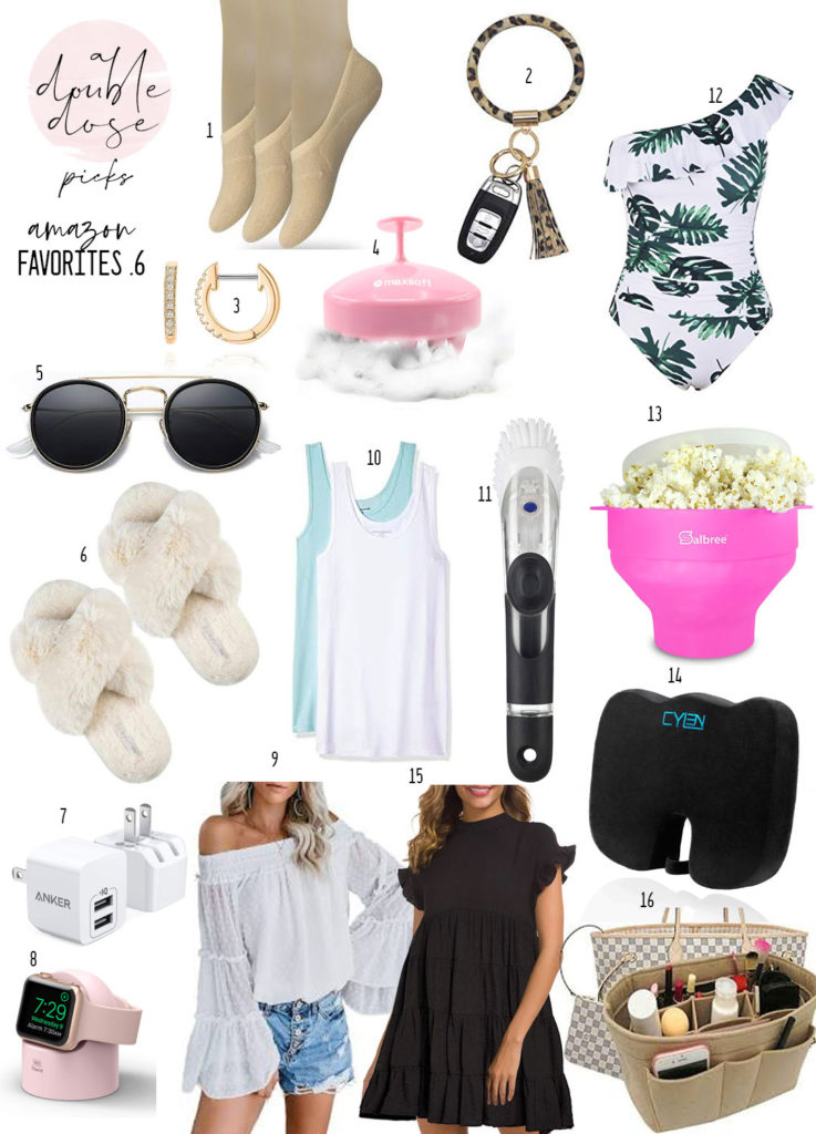 lifestyle and fashion blogger alexis belbel sharing amazon favorites like cozy slippers, dupe sunglasses, no show socks, palm print swimsuit, USB outlets and more   adoubledose.com
