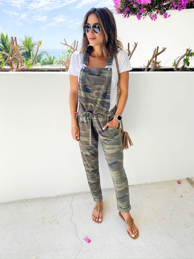 lifestyle and fashion bloggers alexis and samantha belbel share their experience and stay at Grand Velas Los Cabos Resort and the wellnessing getaway retreat wearing camo overalls from zsupply| adoubledose.com