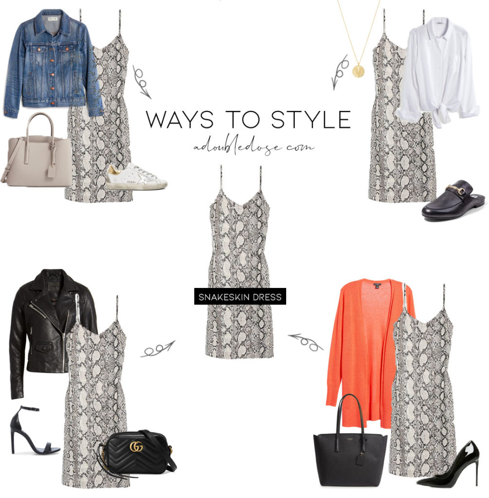 lifestyle and fashion blogger alexis belbel sharing four ways to style a snakeskin print dress from express with a denim jacket, a white button up blouse, a faux leather moto jacket, and a coral cardigan for work  adoubledose.com