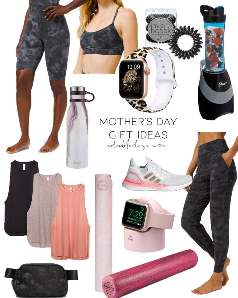 lifestyle and fashion bloggers alexis and samantha belbel share their top and best picks for mother's day gift ideas that are for the fitness lover: yoga mat, sneakers, apple watch band