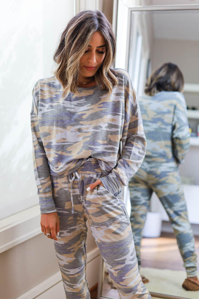 lifestyle and fashion blogger alexis belbel sharing a camo lounge set from Express with other loungewear to wear to work from home during quarantine | adoubledose.com