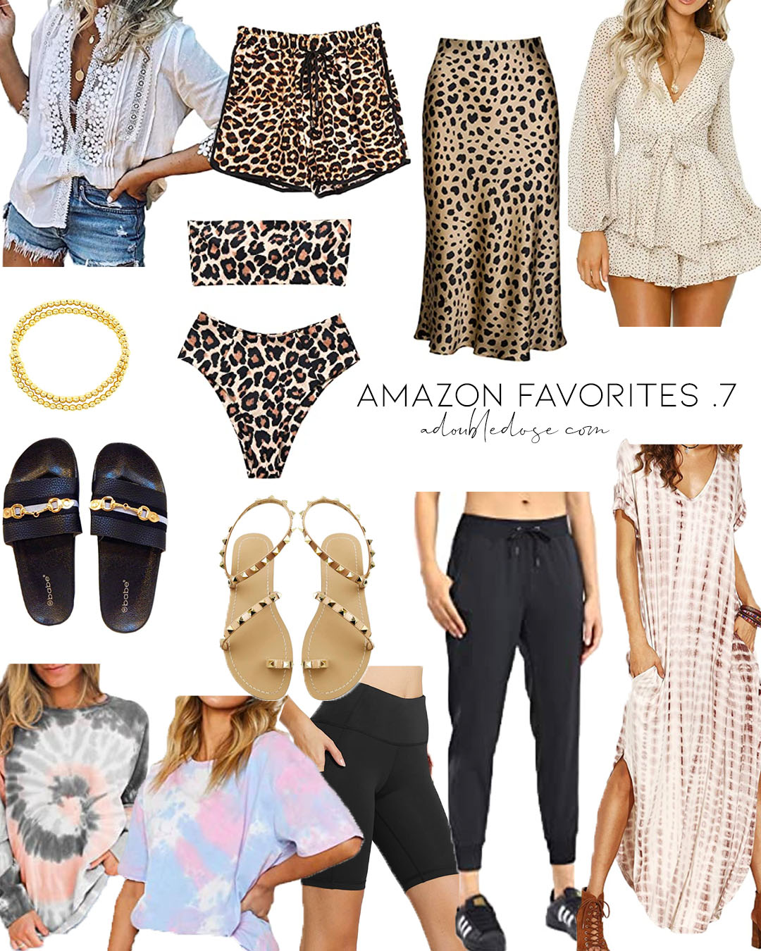 lifestyle and fashion blogger alexis belbel sharing amazon favorites like leopard bikini, black joggers, tie dye tee, tie dye maxi dress, studded sandals and more | adoubledose.com