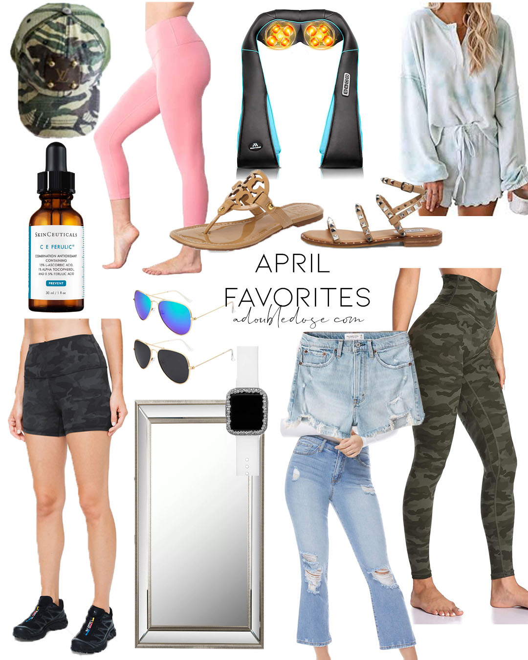 lifestyle and fashion blogger alexis belbel sharing her april favorites including amazon lulu dupe leggings, lululemon align bike shorts, full length mirror, camo leggings, studded sandals from steve madden and more | adoubledose.com