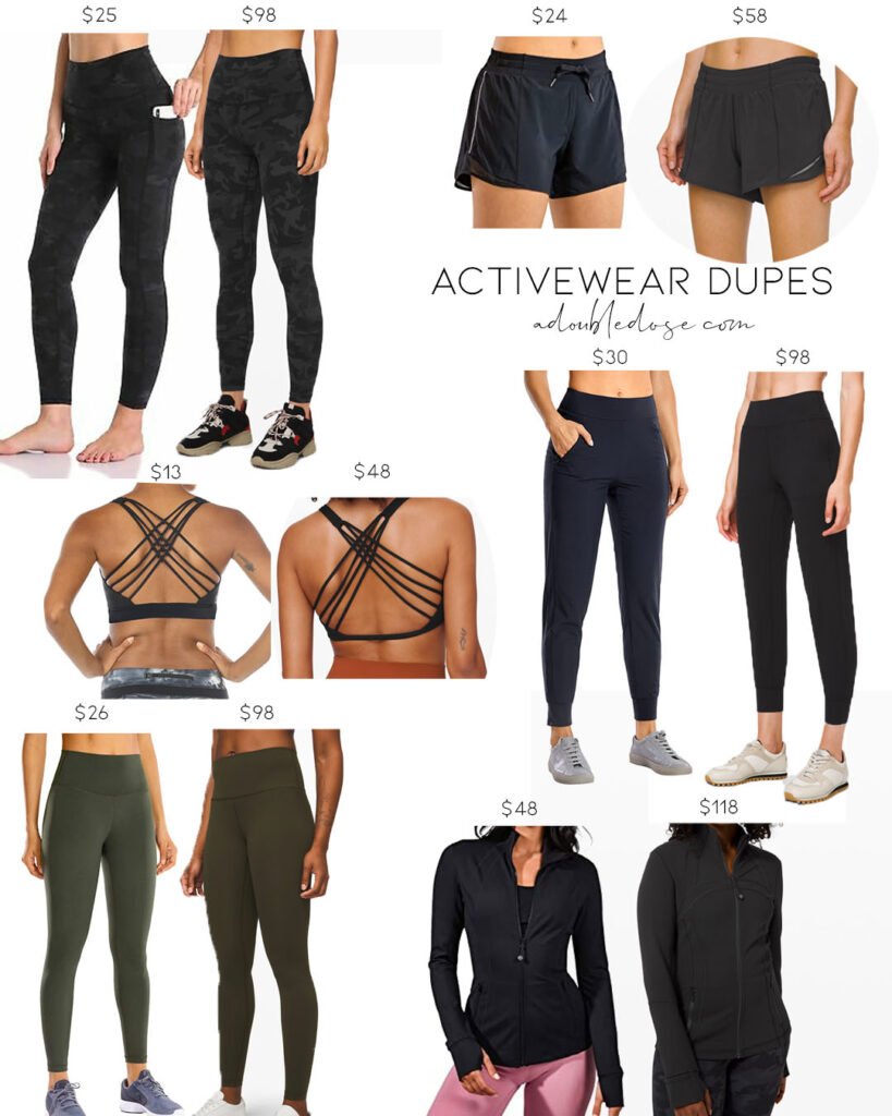 lifestyle and fashion blogger alexis belbel sharing her favorite lululemon pieces for working out and running: free to be bra, align leggings, align joggers, wunder under leggings, hotty hot shorts and amazon dupe save options | adoubledose.com