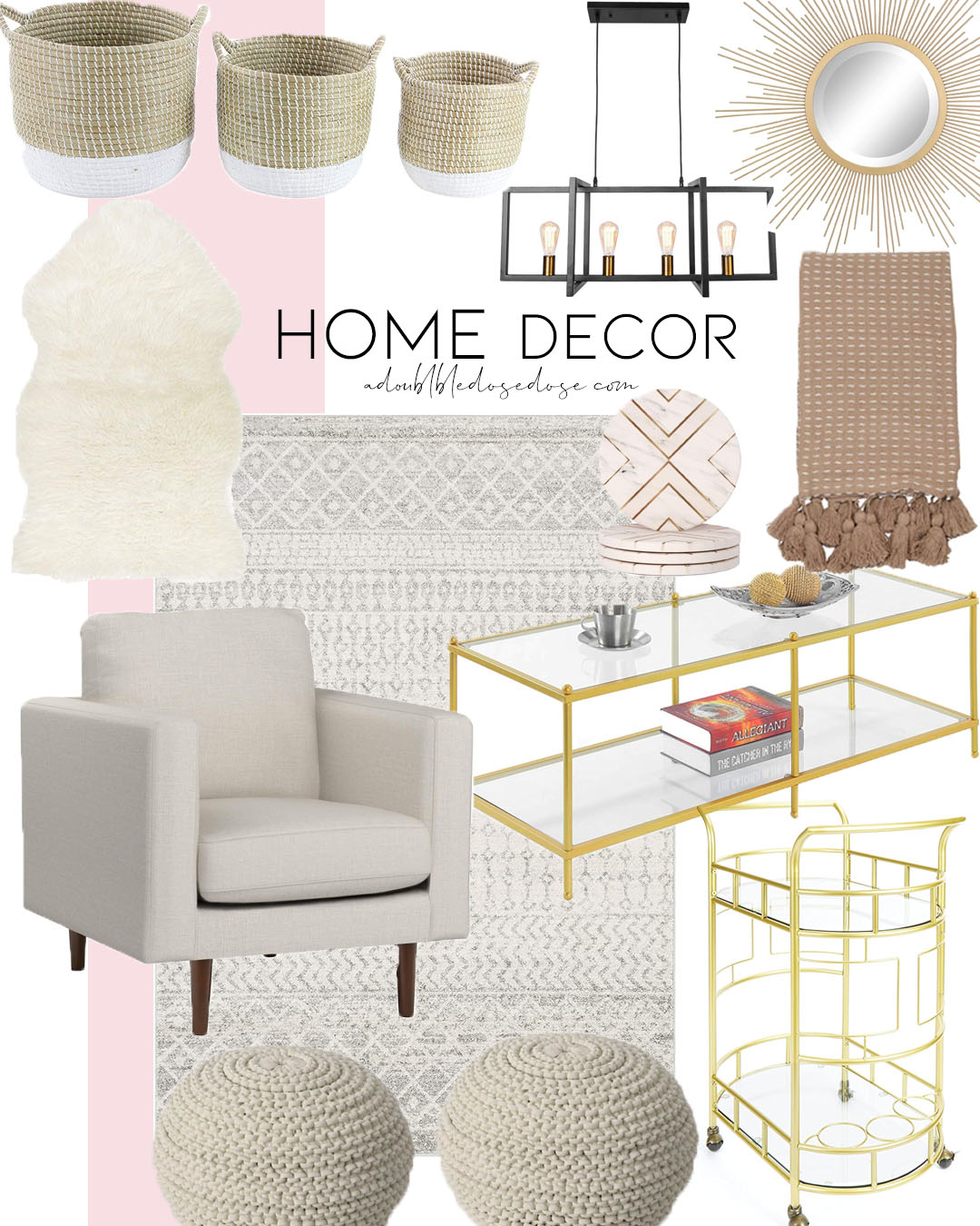 affordable home decor from target and amazon : accent chair, area rug, throw blanket, bar cart for summer 2020 | adoubledose.com