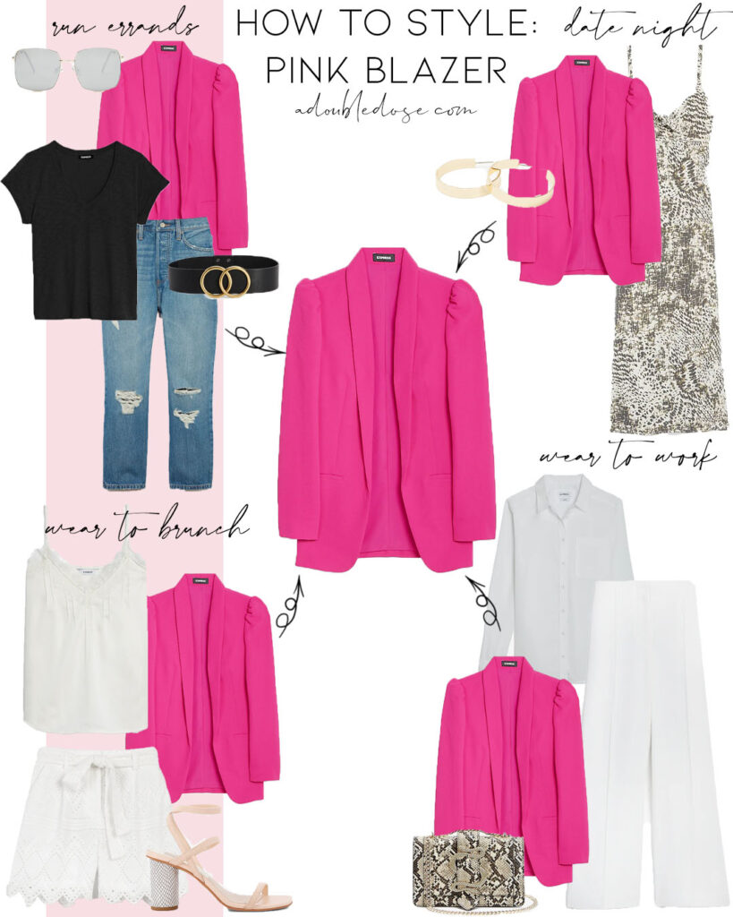 lifestyle and fashion blogger alexis belbel sharing four ways to style a pink fuchsia blazer from express with high waisted tie shorts and a neutral linen tank. how to wear it for a date, brunch, to work | adoubledose.com