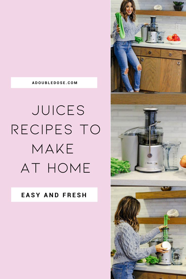 lifestyle and fashion blogger alexis belbel sharing four fresh juices to make at home and their go to juicer for celery juice | adoubledose.com