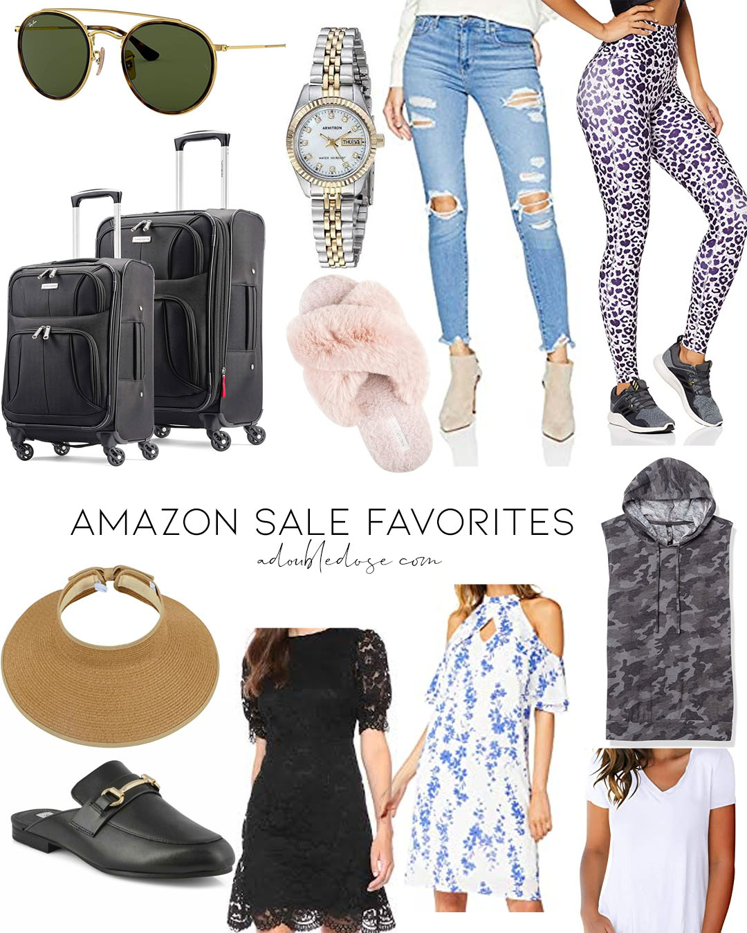 lifestyle and fashion blogger alexis belbel sharing amazon big sale finds including activewear, bike shorts, and tanks, levis jeans,samsonite luggage, visor, cozy slippers, all on sale | adoubledose.com