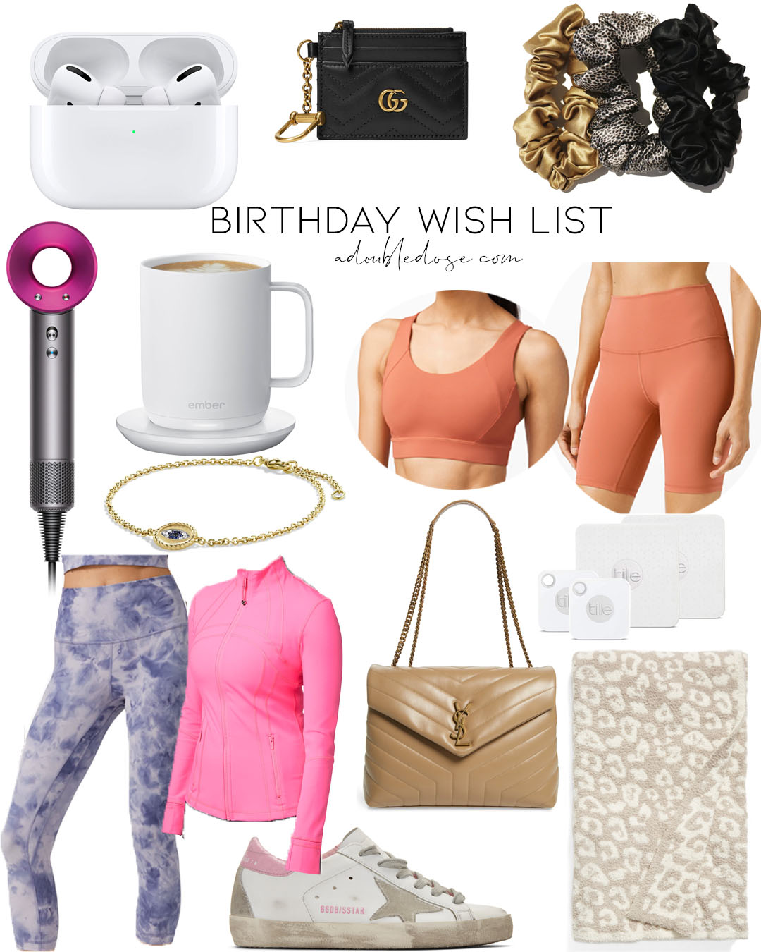 our 2020 birthday wish list: dyson hair dryer, lululemon align shorts, ember temperature controlled mug, silk scrunchies | adoubledose.com