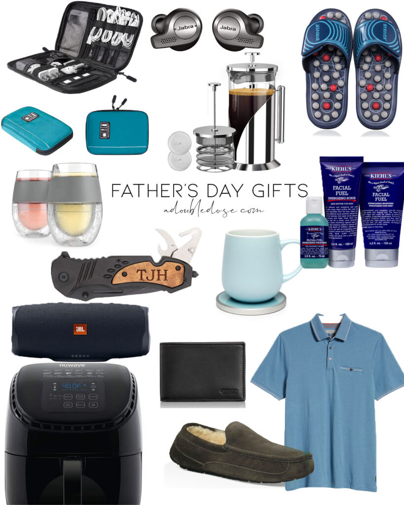 lifestyle and fashion blogger alexis belbel sharing fathers day gifts mug warmer, ugg slippers, bluetooth speaker, air fryer, french press | adoubledose.com