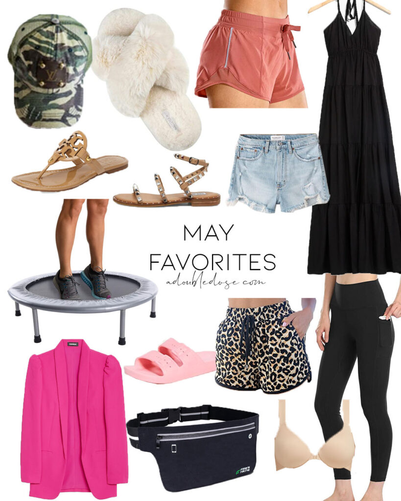 lifestyle and fashion blogger alexis belbel sharing her may favorites including comfy slippers lululemon dupe running shorts, black maxi dress, affordable rebounder trampoline, slide sandals, pink blazer, studded sandals from steve madden and more | adoubledose.com