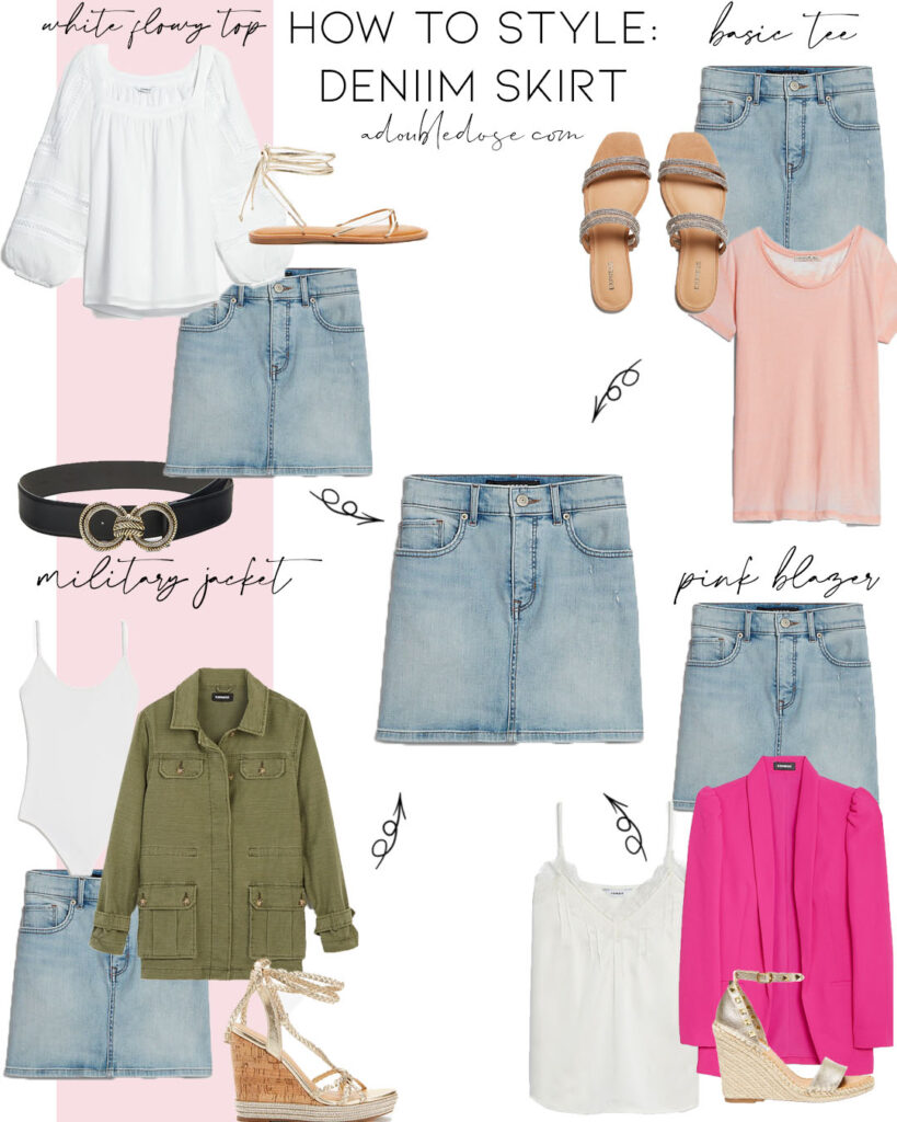lifestyle and fashion blogger alexis belbel sharing four ways to style a denim skirt from express with a basic tee, a blazer, and a military jacket: how to wear it for a date, brunch, to work | adoubledose.com