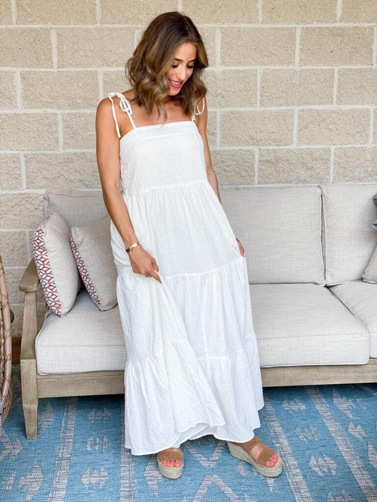 white petite maxi dress