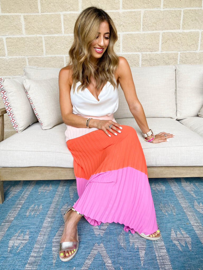 colorblock skirt from express