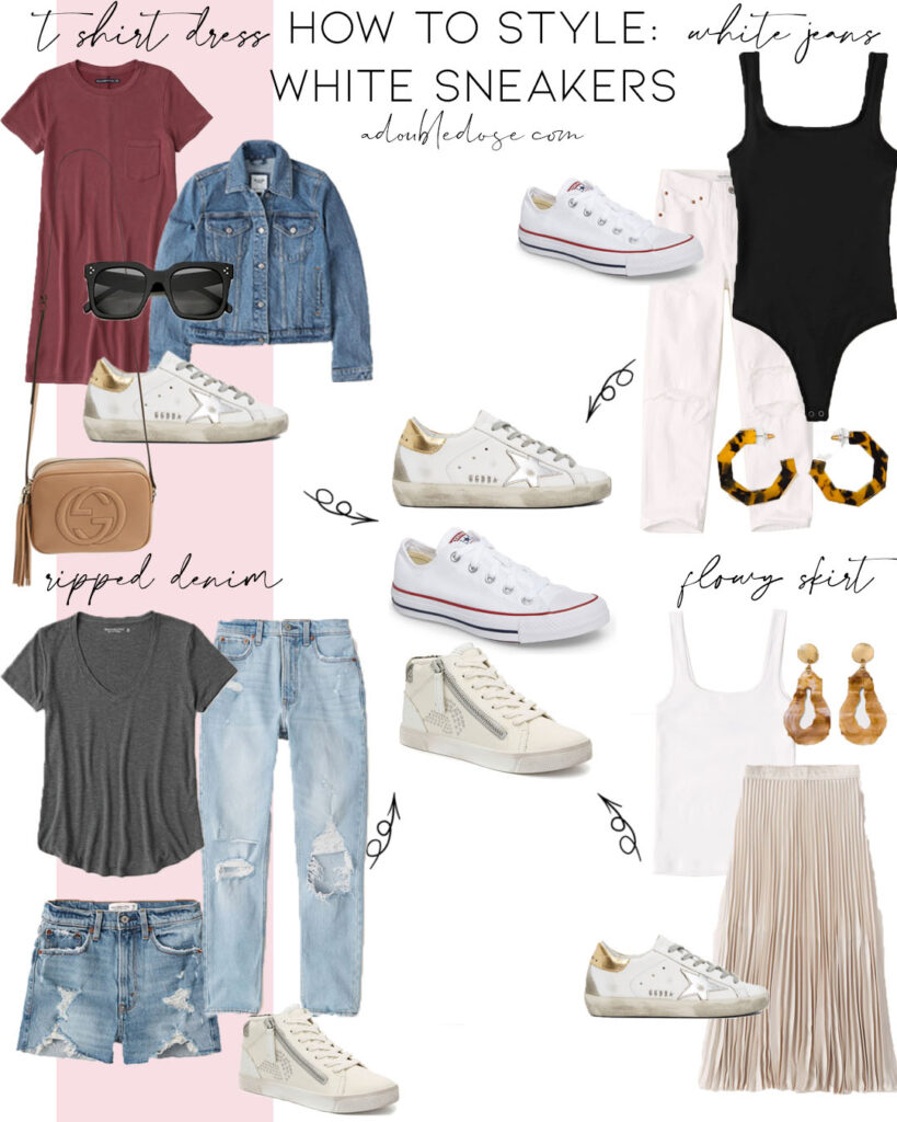 lifestyle and fashion blogger alexis belbel sharing four ways to style white sneakers: golden goose, converse, and high top sneakers with a flowy skirt, denim shorts, white ripped jeans, and a t shirt dress | adoubledose.com