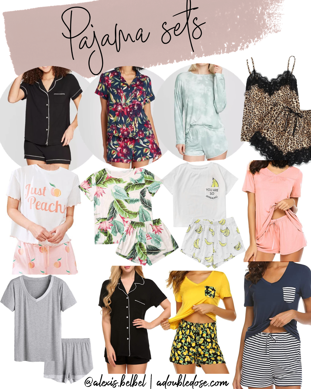 Lifestyle fashion blogger alexis belbel sharing her favorite loungewear short sets to wear at home from Amazon and Target | adoubledose.com