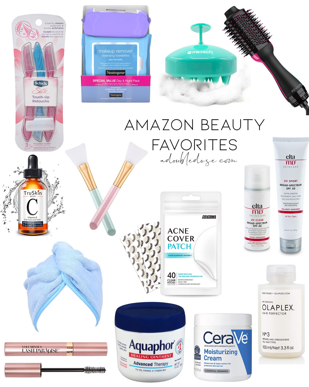 lifestyle and fashion blogger alexis belbel sharing her favorite amazon beauty purchases: neutrogena makeup remover wipes, eltaMD sunscreen, scalp massager, zit stickers | adoubledose.com