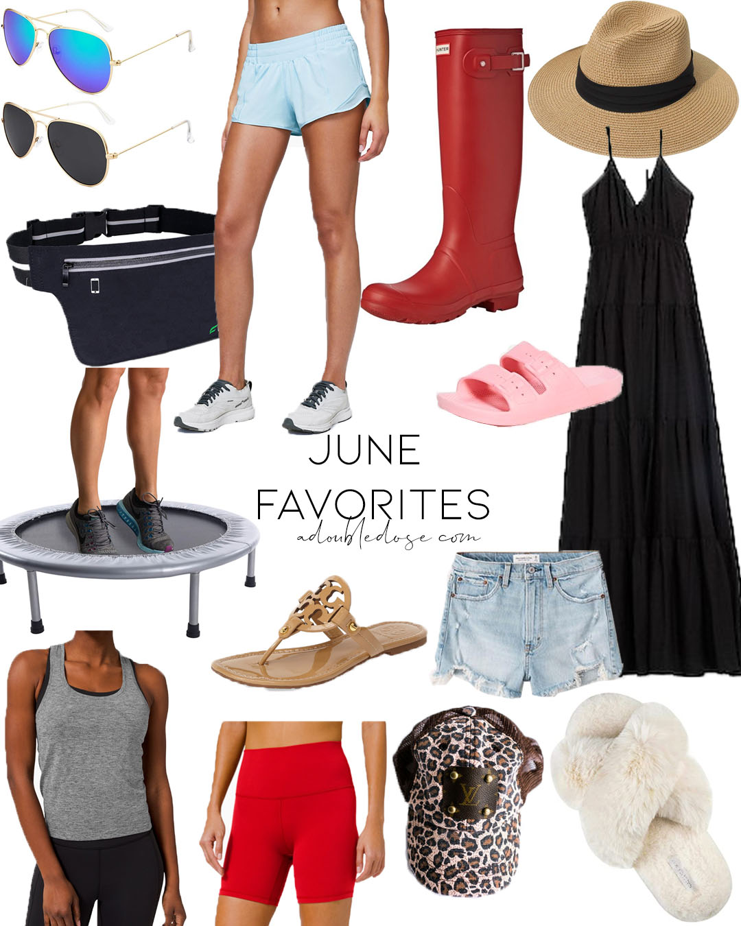lifestyle and fashion blogger alexis belbel sharing her may favorites including comfy slippers lululemon lululemon running shorts, black maxi dress, affordable rebounder trampoline, slide sandals, hunter rain boots and more | adoubledose.com